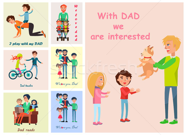With Dad we are interested posters set of vector Stock photo © robuart