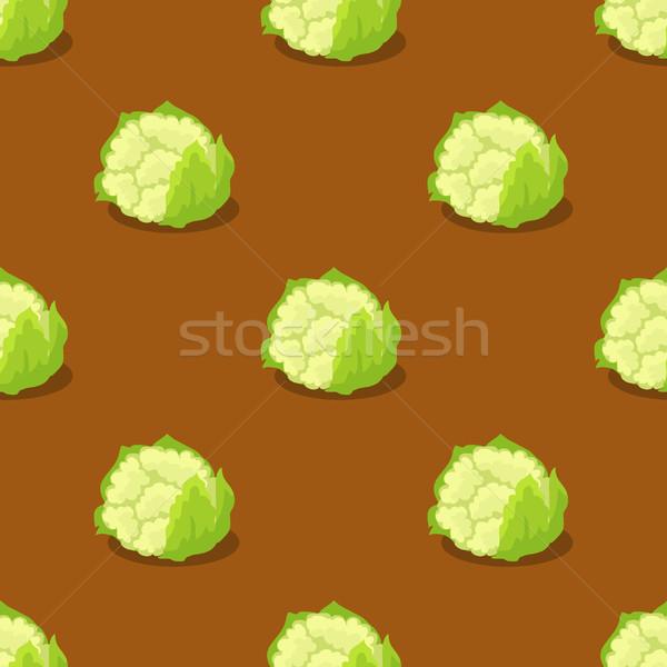 Karfiol izolált barna végtelen minta friss zöldségek organikus Stock fotó © robuart