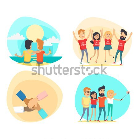 Celebrating Friendship Day Vector Concepts Set Stock photo © robuart