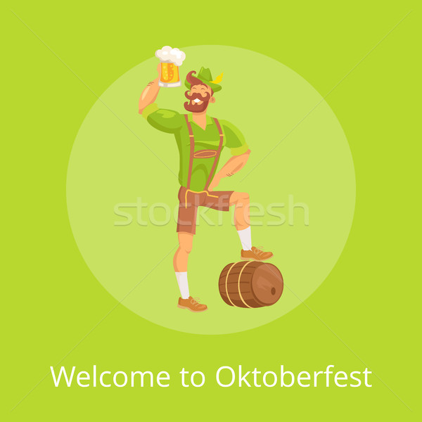 Bienvenue oktoberfest affiche homme vecteur vert Photo stock © robuart