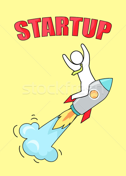 Startup Man on Launched Rocket Vector Illustration Stock photo © robuart