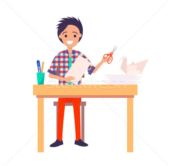 Origami banner uomo seduta tavola Foto d'archivio © robuart