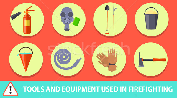 Stock photo: Firefighting Poster Depicting Tools and Equipment
