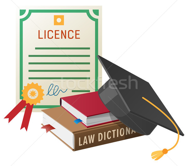 Licence with Stamp, Books Pile and Academic Hat Stock photo © robuart