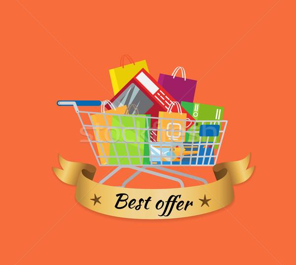 Najlepszy oferta promo banner koszyka pełny Zdjęcia stock © robuart