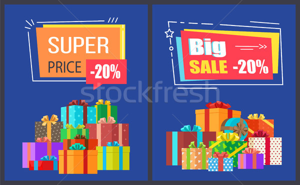 Big Super Sale Best Prices Discounts Promo Posters Stock photo © robuart