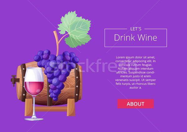 Let s Drink Wine Web Page Vector Illustration Stock photo © robuart