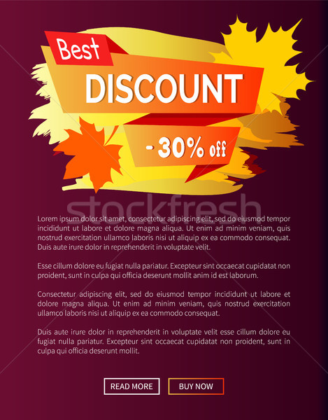 Best Discount Autumn Sale - 30 Off Advert Poster Stock photo © robuart