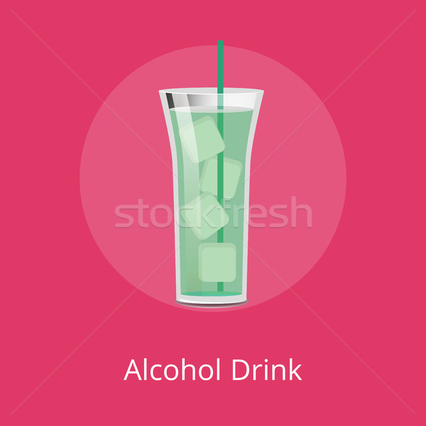 Alcohol Drink in Long Glass with Big Ice Pieces Stock photo © robuart