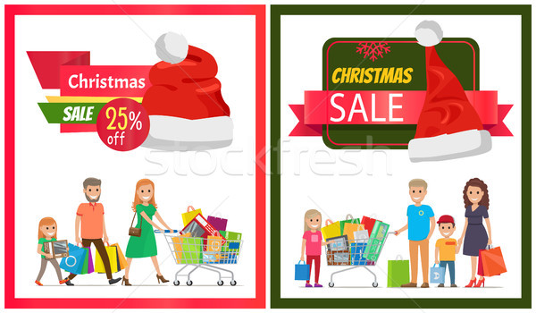 Stock photo: Pair of Christmas Sale Cards Vector Illustration