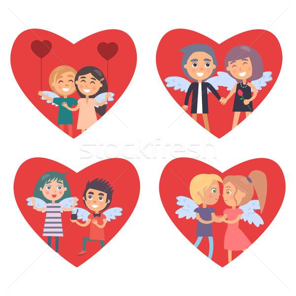 バレンタインデー カード セット ビッグ 赤 心 ストックフォト © robuart