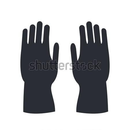 Brand rubberen handschoenen geïsoleerd witte silhouet menselijke Stockfoto © robuart