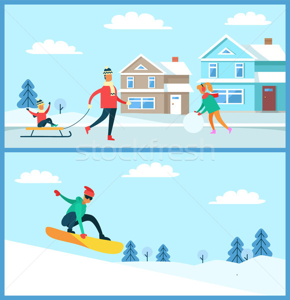 Snowboarder and Family Set Vector Illustration Stock photo © robuart