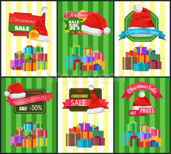 Karácsony árengedmény ünnep ajándékok plakátok promóciós Stock fotó © robuart