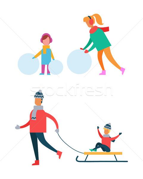 Maman enfant bonhomme de neige père Photo stock © robuart