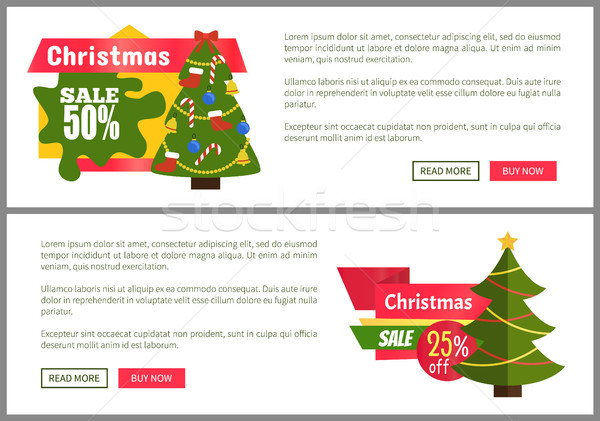 Stock photo: Christmas Sale Buy Now Posters Vector Illustration