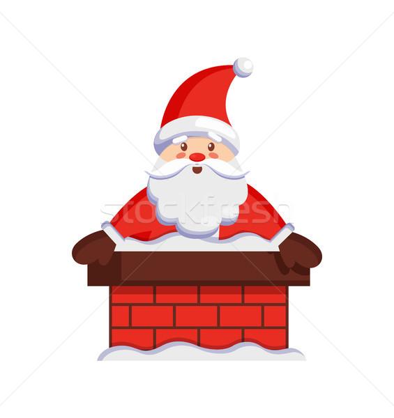 Дед Мороз дымоход икона изолированный белый улыбаясь Сток-фото © robuart
