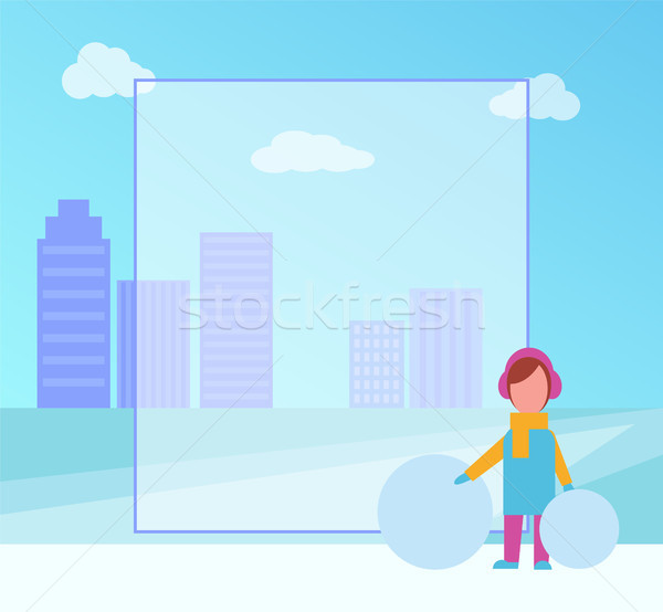 Winter Placard with Girl on Vector Illustration Stock photo © robuart