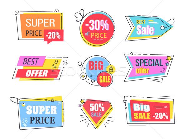 Najlepszy oferta zestaw reklama ogromny sprzedaży Zdjęcia stock © robuart