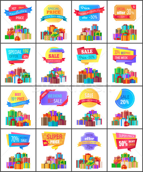 Hot Exclusive Price Labels Posters with Gift Boxes Stock photo © robuart