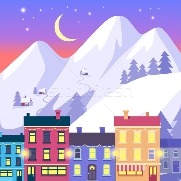 Christmas Small Town on High Mountains Background Stock photo © robuart