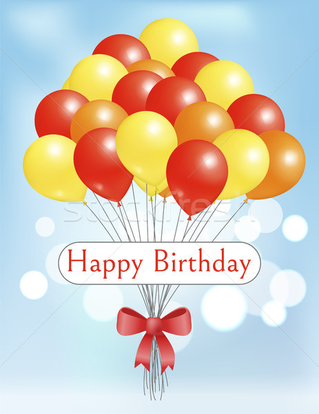 Happy Birthday Postcard Balloons Big Bundle Party Stock photo © robuart