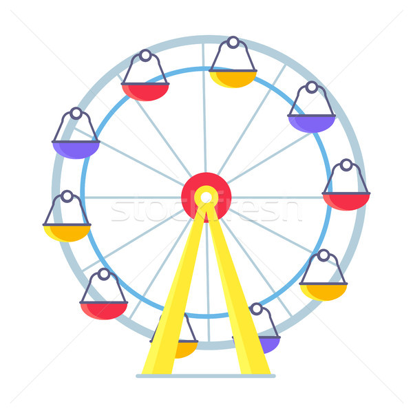 Colorful Vector Poster of Ferris Wheel on White Stock photo © robuart