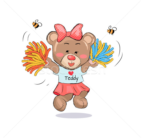 Lovely Teddy Girl in Cheerleading Uniform with Poms Stock photo © robuart