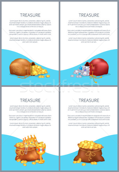 Treasure Posters with Text Vector Illustration Stock photo © robuart