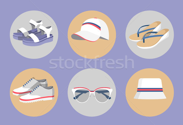 Vogue Wear Isolated in Circles, Colorful Banner Stock photo © robuart