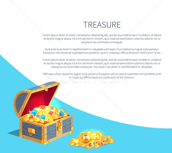 Treasure Poster Wooden Chest Full of Ancient Gold Stock photo © robuart