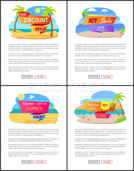 Hot Summer Sale with Discount Up to 35 Promo Set Stock photo © robuart