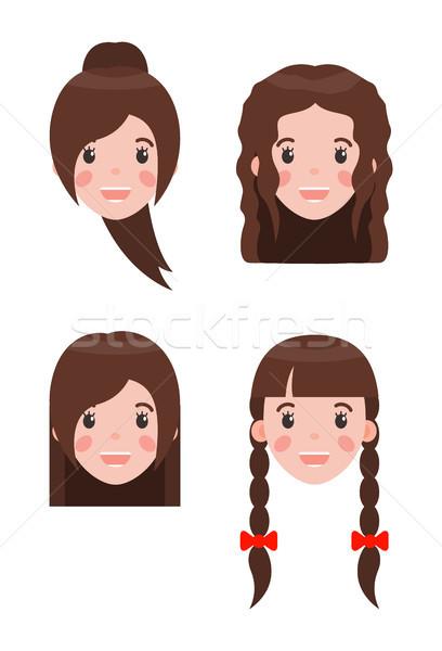 Mujer peinados establecer peinado decorado Foto stock © robuart