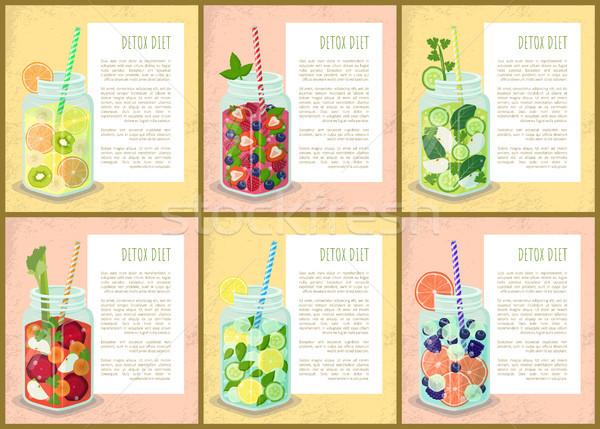 диета набор плакатов сочный напитки Сток-фото © robuart