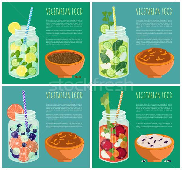 Szett vegetáriánus étel frissítő detoxikáló diéta gyűjtemény Stock fotó © robuart
