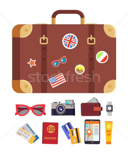 Baggage and Icons Collection Vector Illustration Stock photo © robuart