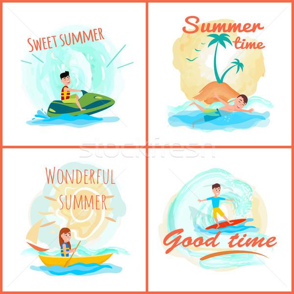 甘い 夏 時間 コレクション 素晴らしい バナー ストックフォト © robuart