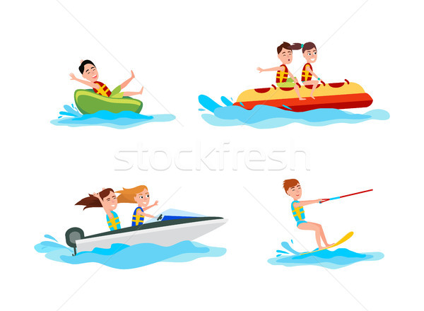 Ingesteld sport collectie zomer activiteiten mensen Stockfoto © robuart