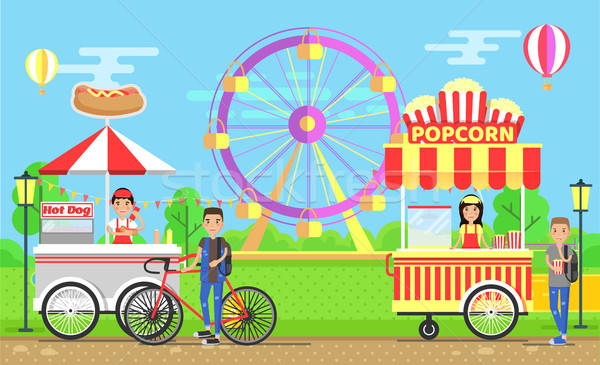 Street Food Carts with Vendors in Amusement Park Stock photo © robuart