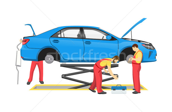 Auto Mechanics and Lifted Car Vector Illustration Stock photo © robuart