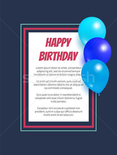 С Днем Рождения плакат надувной шаров кадр квадратный Сток-фото © robuart