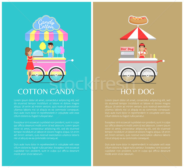 Hot Dog and Cotton Candy Stands Colorful Icons Stock photo © robuart