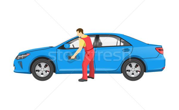 Szerelő egyenruha autó modern jármű kék Stock fotó © robuart