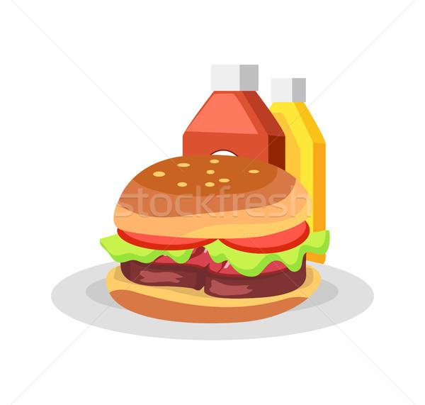 Stockfoto: Hamburger · plaat · barbecue · partij · smakelijk · maaltijd