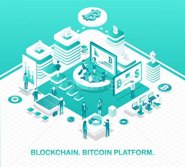 Bitcoin plate-forme opération modèle argent Photo stock © robuart