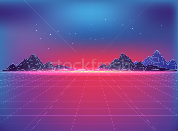 Futuristic Backdrop in 80s Style with Cosmic Motif Stock photo © robuart