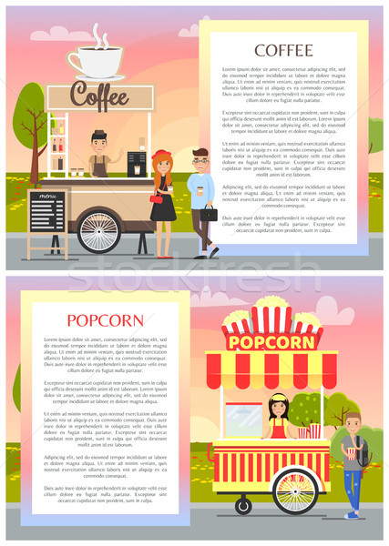 Kávé pattogatott kukorica város park poszter mobil Stock fotó © robuart