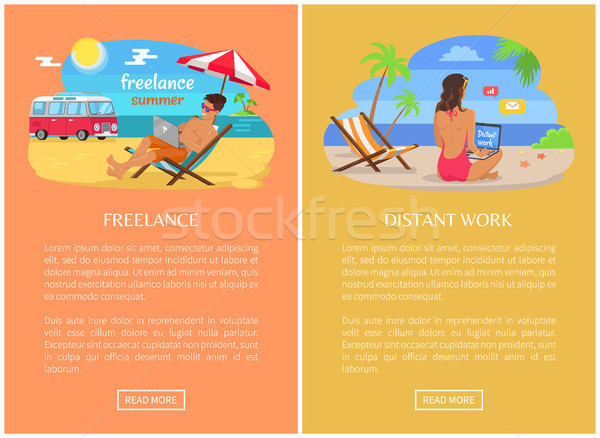 Freelance and Distant Work Promo Web Pages Set Stock photo © robuart