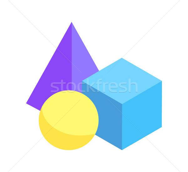 Tre colorato geometrica raccolta isolato bianco Foto d'archivio © robuart