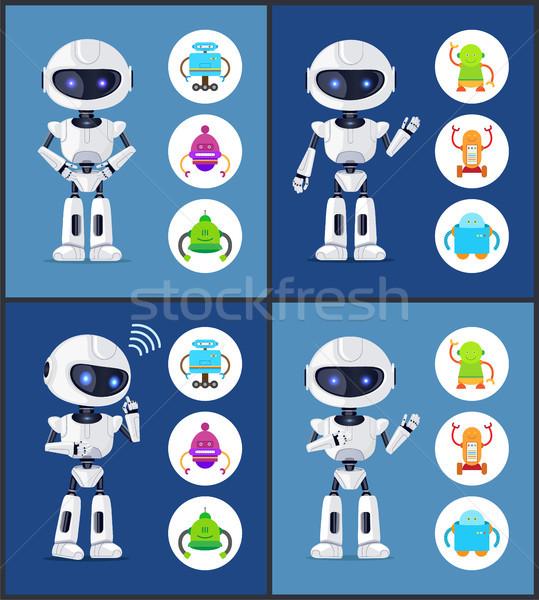 Robot tijdgenoot stijl ingesteld collectie robotachtige Stockfoto © robuart